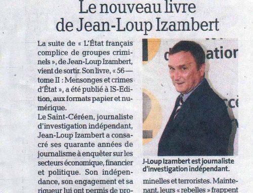 Article de la Dépêche consacré à «56 – Tome 2 : Mensonges et crimes d'État» (Jean-Loup IZAMBERT)