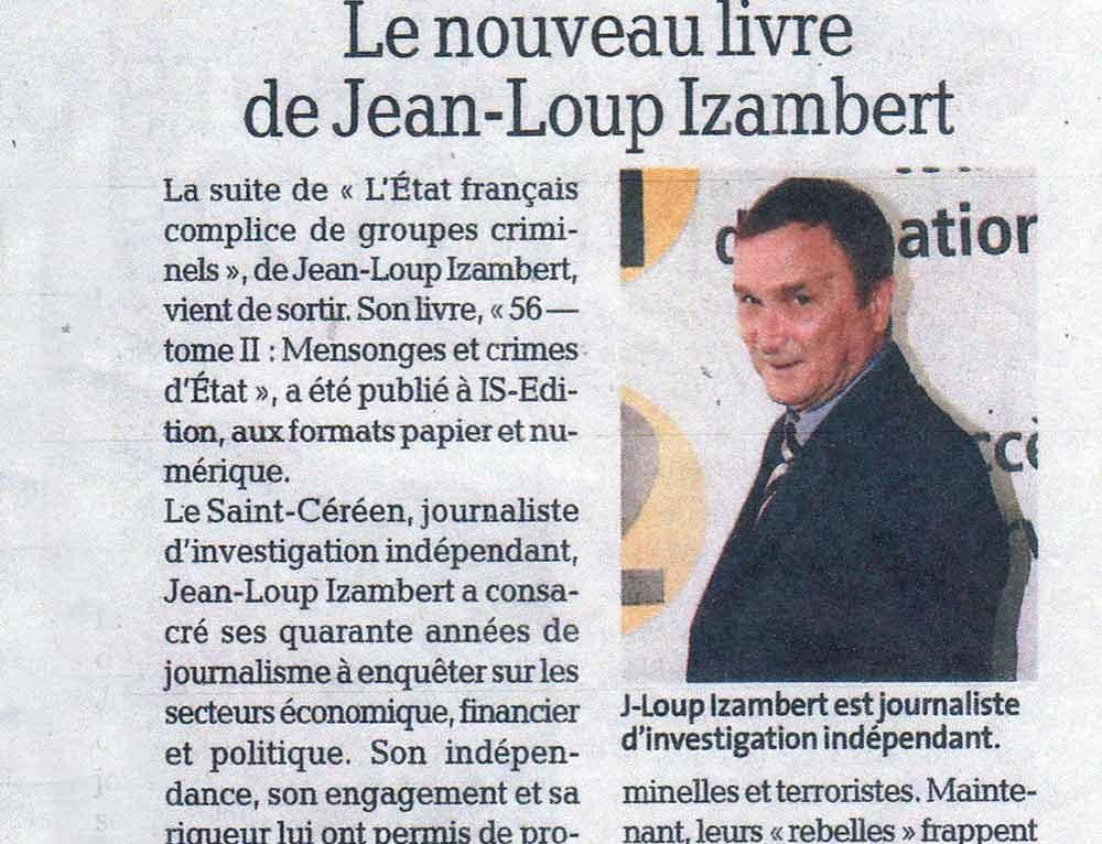 """Article de la Dépêche consacré à """"56 – Tome 2 : Mensonges et crimes d'État"""" (Jean-Loup IZAMBERT)"""