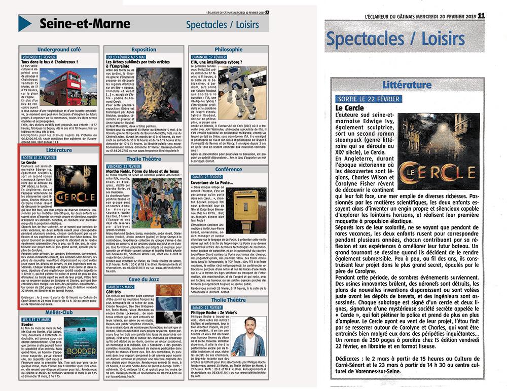 """Articles de L'Éclairage du Gâtinais présentant la sortie du livre """"Le Cercle"""" de Edwige IVY"""