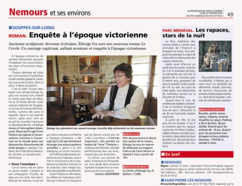 Articles sur «Le Cercle» (Edwige IVY) parus sur La République et L'Éclairage du Gatinais