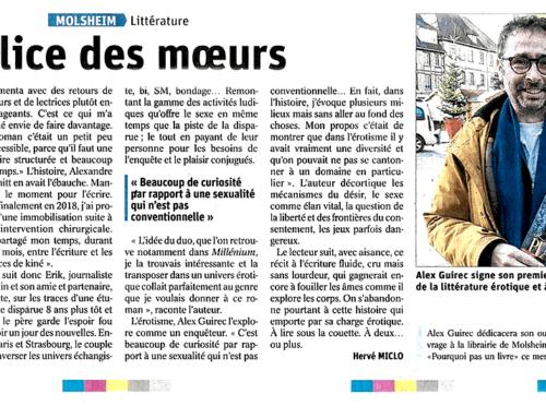 Article sur «L'inconfort du plaisir» (Alex Guirec) paru dans les Dernières Nouvelles d'Alsace