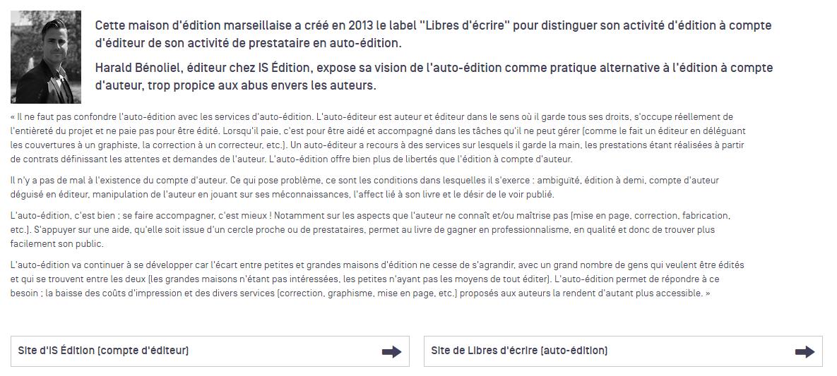 Interview de Harald Bénoliel, fondateur de IS Edition et Libres d'écrire, par l'Agence Régionale du Livre PACA
