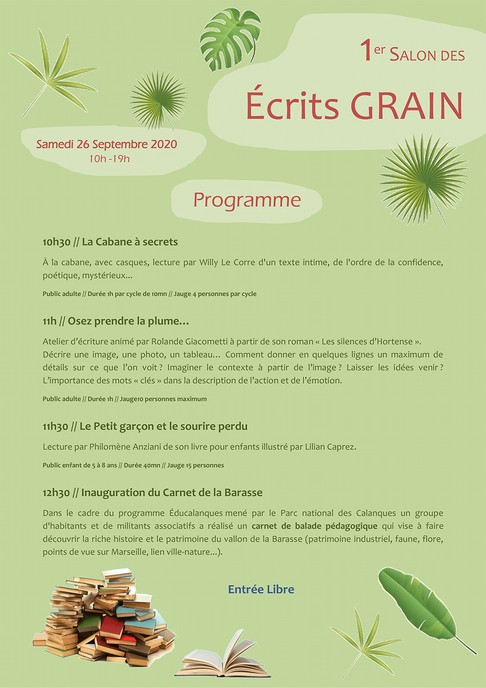 Programme du salon Écrits grains Marseille