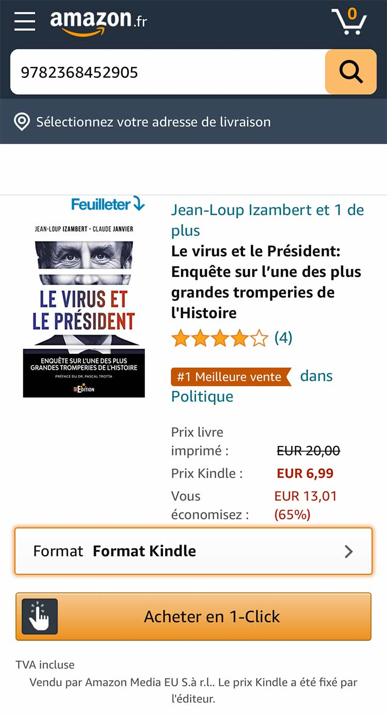 """""""Le virus et le Président"""" numéro 1 des ventes """"Politiques"""" sur Amazon Kindle"""