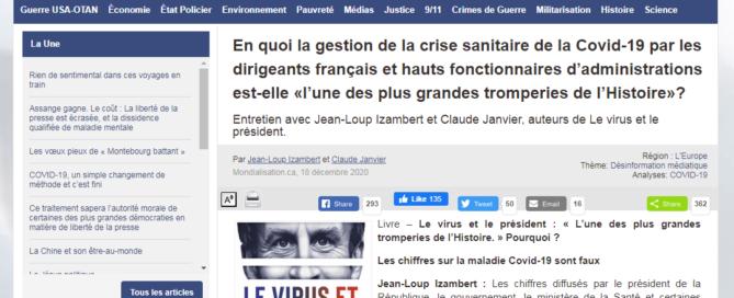 Interview de Jean-Loup Izambert et Claude Janvier (Le virus et le Président) sur le site Mondialisation.ca