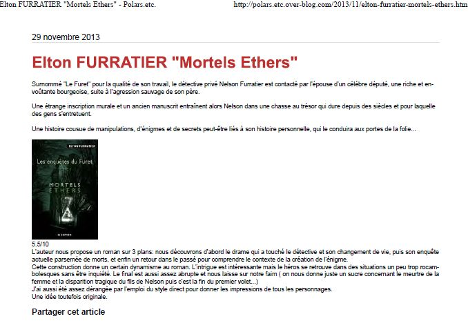 Chronique Mortels ethers