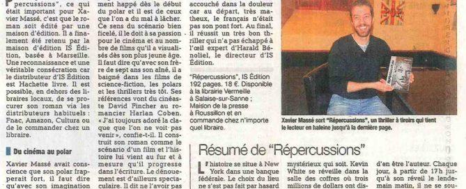 """Article du Dauphiné Libéré sur la sortie de """"Répercussions"""" (Xavier MASSÉ)"""