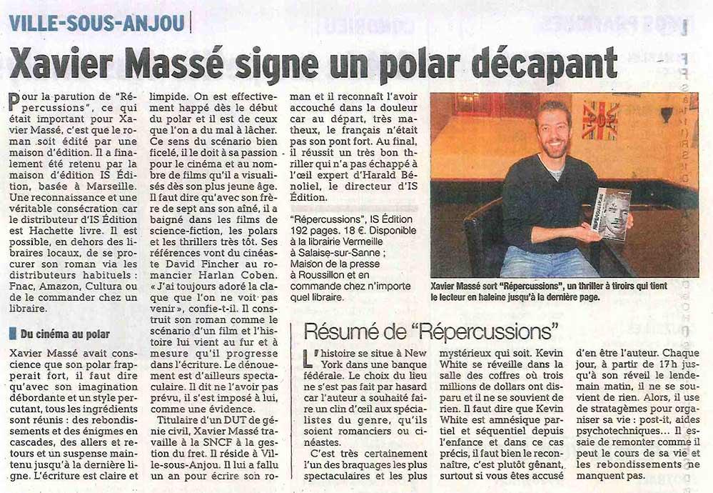 """Xavier MASSÉ fait l'objet d'un article du Dauphiné Libéré pour la sortie de """"Répercussions"""""""