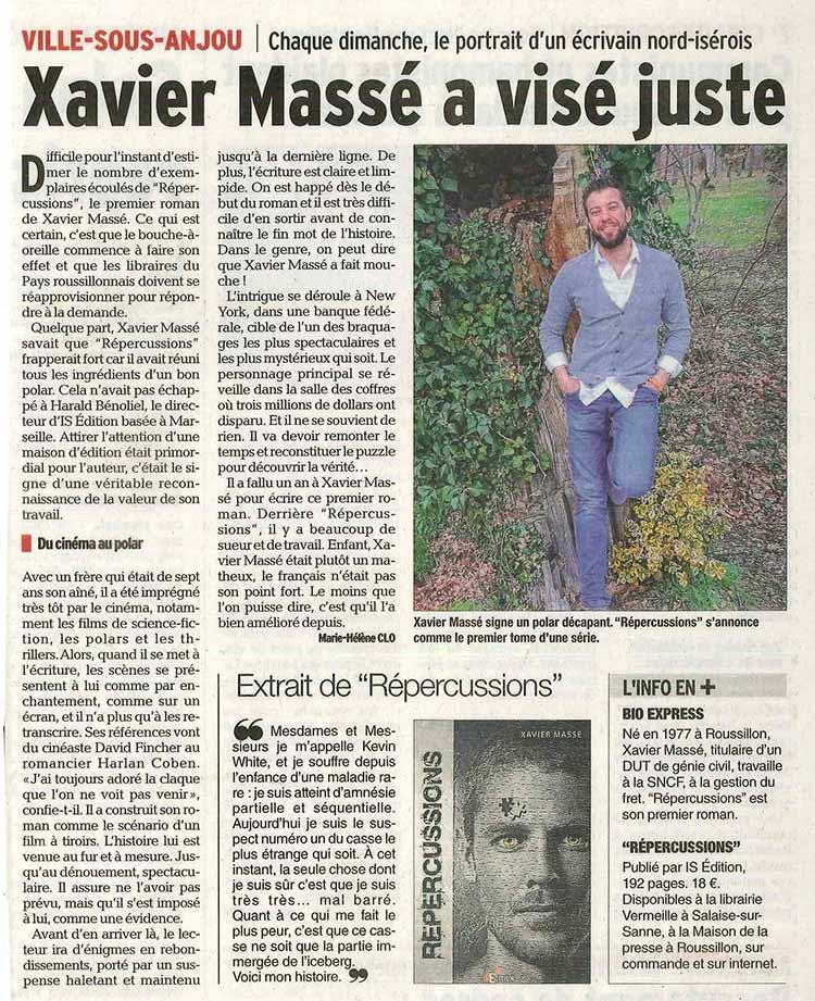 """Article du Dauphiné Libéré sur Xavier MASSÉ (""""Répercussions"""")"""