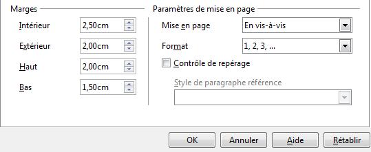 Appliquer des marges à un document Word (livre)