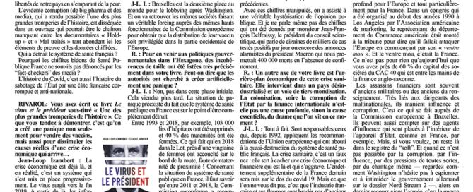 """Interview de Jean-Loup Izambert (""""Le virus et le Président"""") sur Rivarol"""