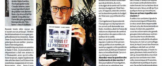"""Interview de Jean-Loup Izambert (""""Le virus et le Président"""") sur La Dépêche.fr"""