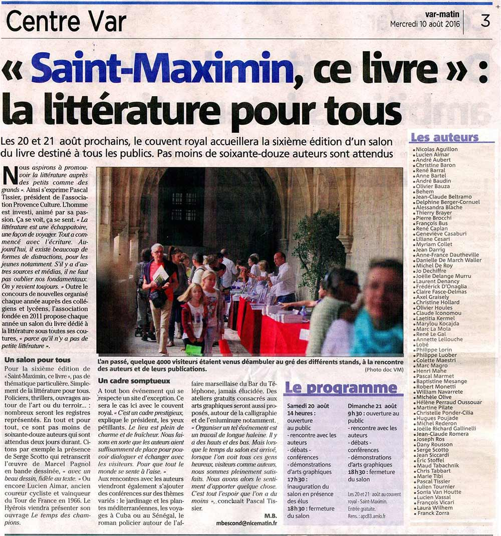 Article Var Matin Salon du livre Saint Maximin 2016